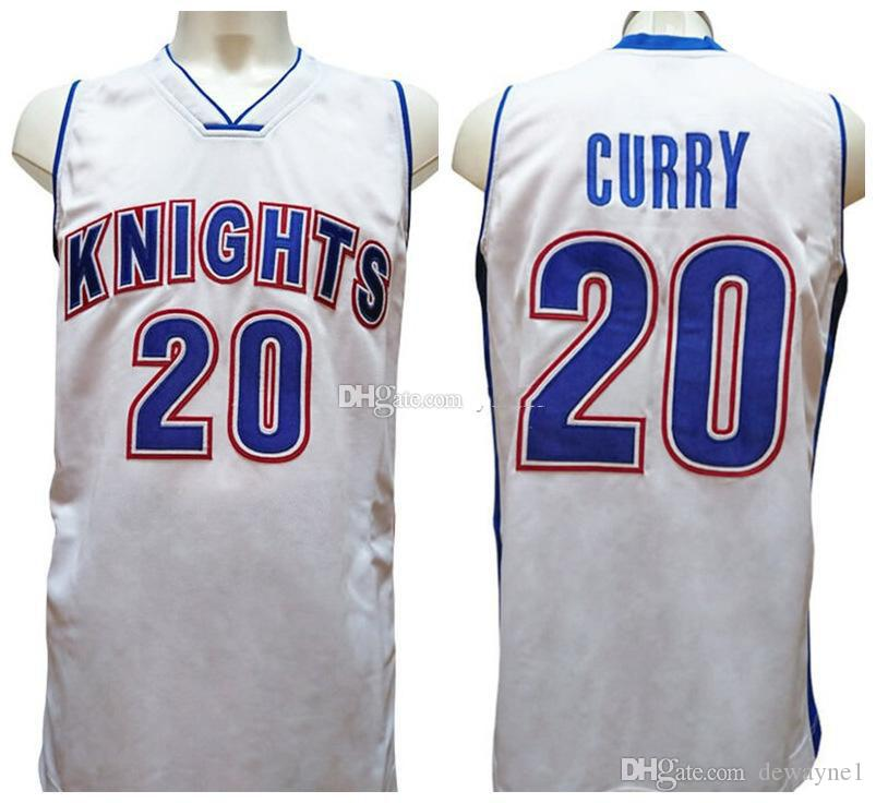 Stephen Curry #20 Charlotte Christian High School Knights Retro Basketball Jersey Mens Stitched Custom Any Number Name Jerseys