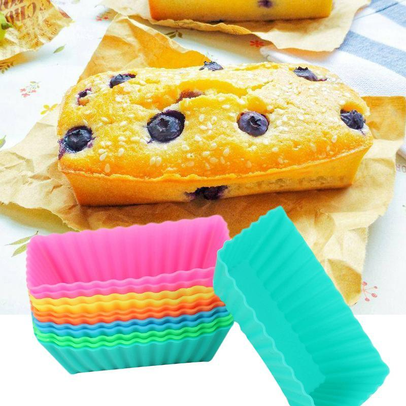12 PCS -grade Silicone Muffin Cake Mold Rectangular Muffin Moulds Cup Brownie Pudding Jelly Chocolate Soap Mould 2019 New