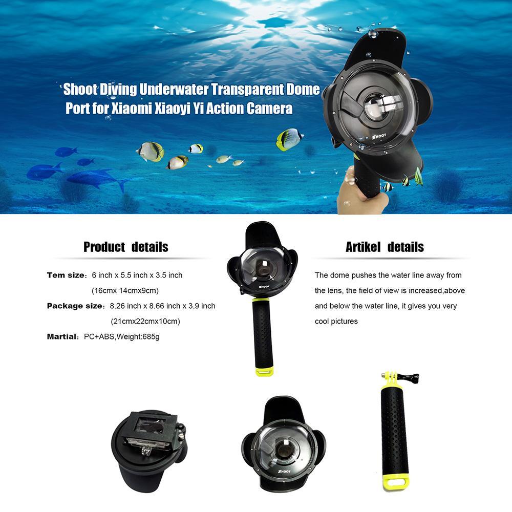 تصوير المحمولة الغوص فيش قبة ميناء التبعي ل xiaomi يي الغوص كاميرا الرياضة عمل الكاميرا تحت الماء مع قبضة floaty