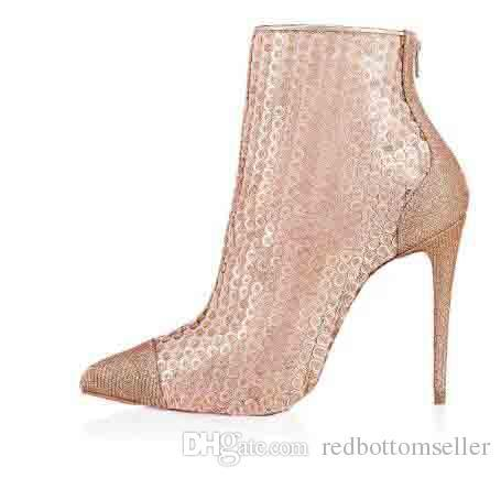 De Bottes Femmes Nude Marque Luxe Semelle Chaussures Avec 2018italie Bottines Paillettes Gipsybootie Designer Rouge 100mm Bottom Sexy 0P8nwOk