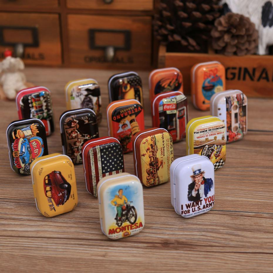 5.5*4*2.5cm Storage Box Decoration Collection Display Candy Chutty Mini Storage Metal Vintage Cartoon Tin Box Color Random