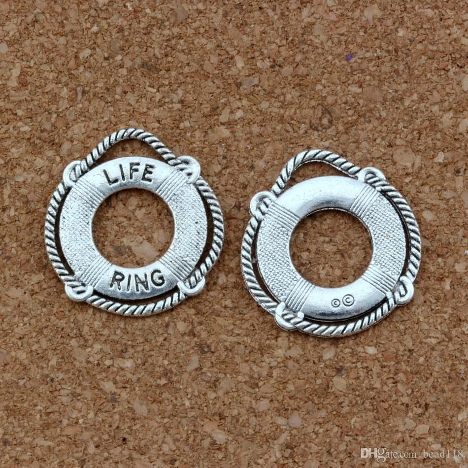 LIFE RING Charm Pendants 100Pcs/lot Antique silver Fashion Jewelry DIY Fit Bracelets Necklace Earrings 21.8x23.5mm A-418