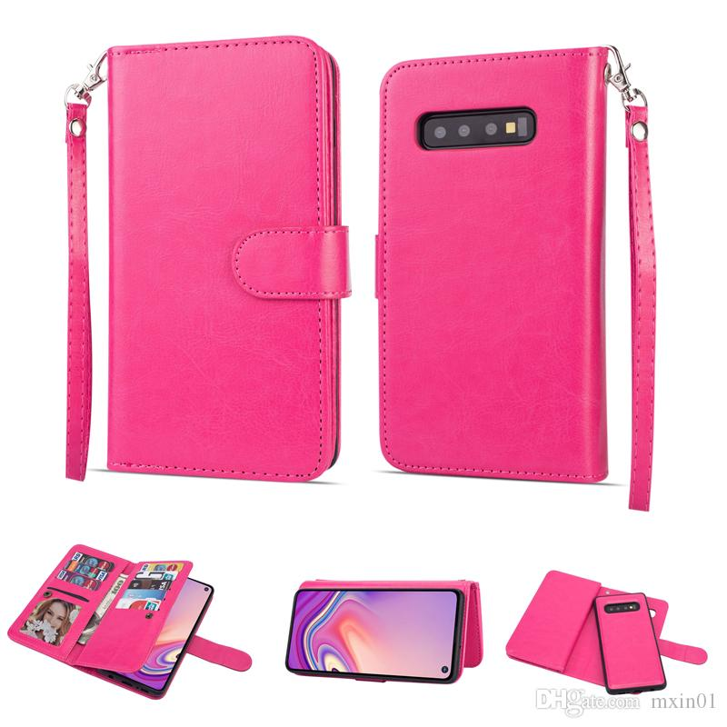 2 em 1 Magnetic removível 9 cartão destacável Carteira capa para iPhone 11 Pro Max XR XS X 8 7 6 Samsung S8 S9 S10 Além disso S10E Nota 10 10+