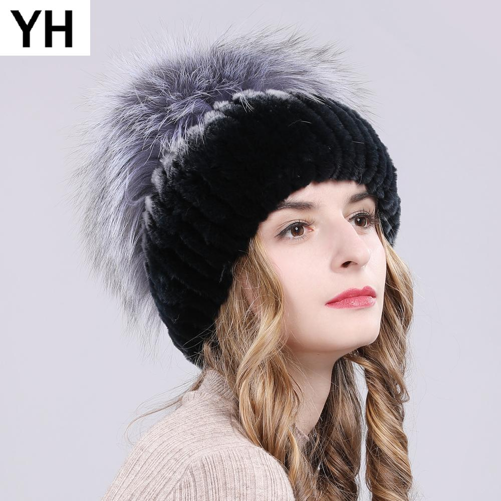 ba20e3adca0 New Women Winter Warm Real Genuine Fur Hat Real Rex Rabbit Fur And Sliver  Fox Top Mushroom Shape Caps Rex Rabbit Beanies Mens Hats Straw Hat From  Alley66