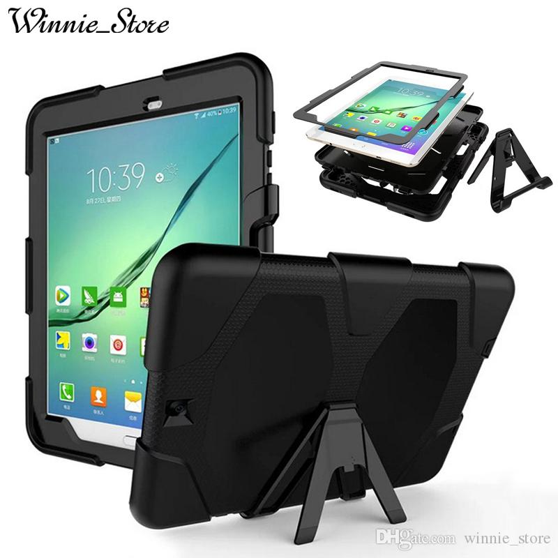 size 40 9c7c0 c4f43 DHL free Armor Case For Samsung Galaxy Tab S2 9.7 T810 T811 T813N T819N  T815 3in1 Shockproof Rugged Impact Kickstand Protective Cover