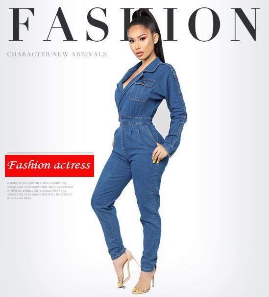 9e2f9872a22 2019 Fashion Actress Deep V Sexy Wash Denim Jumpsuit Blue M 2XL Belt Button  Retro Casual One Piece Set From Farmers001