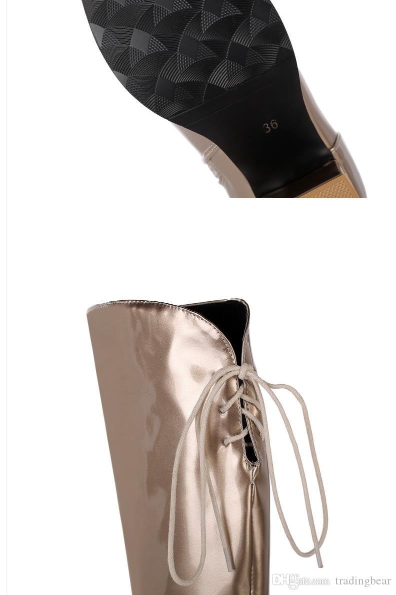 moda lüks tasarımcı çizmeler düşük topuk gümüş altın diz yüksek çizmeler kışlık botlar 42 ila 45 kadar sıcak kalın peluş boyutunu 32 tutmak