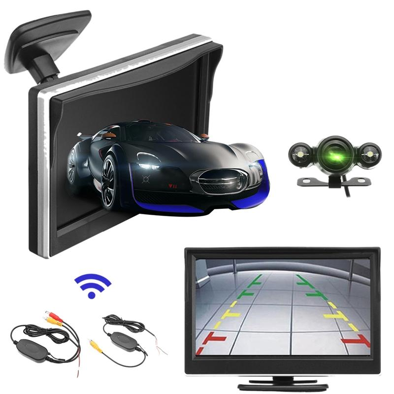 5inch 720P Wireless Car Parking Reversing Camera LCD Monitor 2 in 1 TFT HD Car Monitor 170 Degrees Waterproof Backup Camera