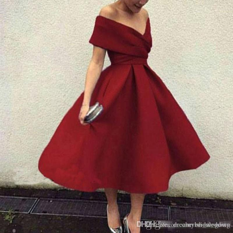 280a0c2e1f3 2018 New Burgundy Cocktail Dress Plus Size Off The Shoulder Tea Length Short  Prom Party Dresses Homecoming Dresses Dresses For Prom Green Prom Dresses  From ...