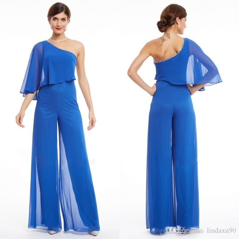 a3aa2715009 One Shoulder Chiffon Mother Of The Bride Pant Suits 2019 Blue Elegant Beads  Wedding Pants Suit Plus Size Mother Bride Dresses Grandmother Of The Bride  ...