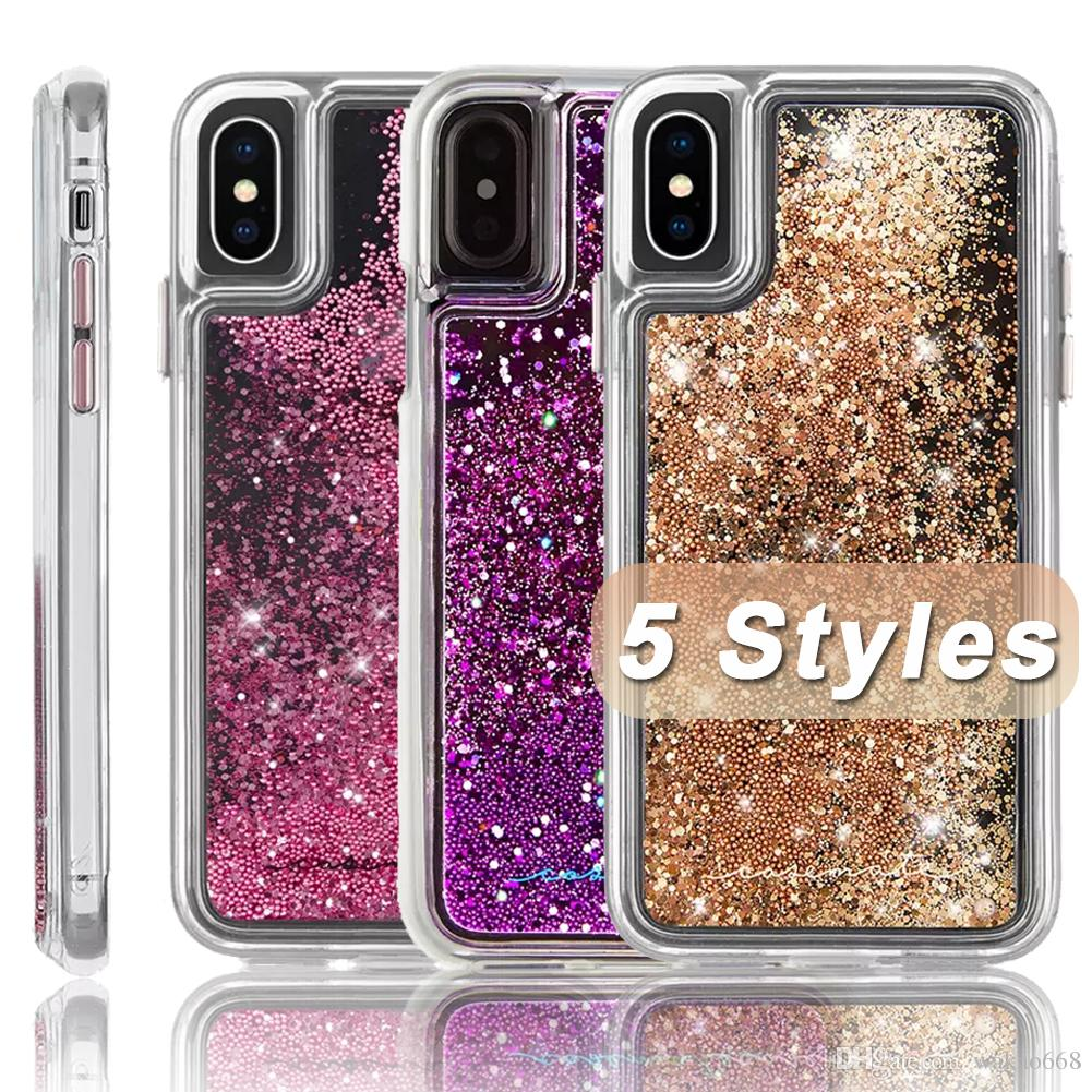 quality design 56242 ac880 CASE MATE For iPhone XR XS MAX Hybrid Waterfall Case Cascading Liquid  Glitter Back Cover Protective Design for iphone X 8 7 Plus