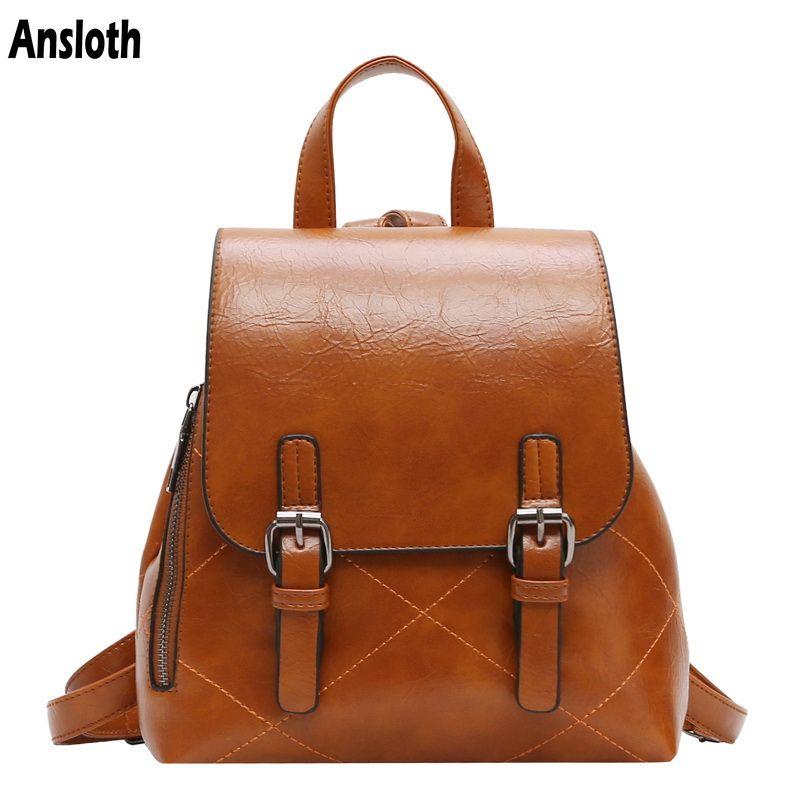 839daecca4 Ansloth Fashion Plaid Women Backpacks Teenager S School Bag Vintage PU Leather  Backpack For Young Girls Travel Backpack HPS446 School Backpacks Cool ...