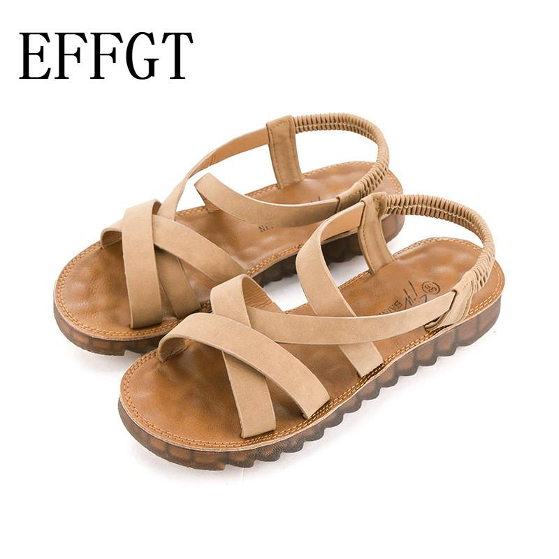 875b273e3515 EFFGT Women Sandals Fashion Gladiator Sandals For Ladies Summer Shoes Female  Flat Rome Style Cross Tied Women Comfortable Shoes Discount Shoes From  Karinton ...