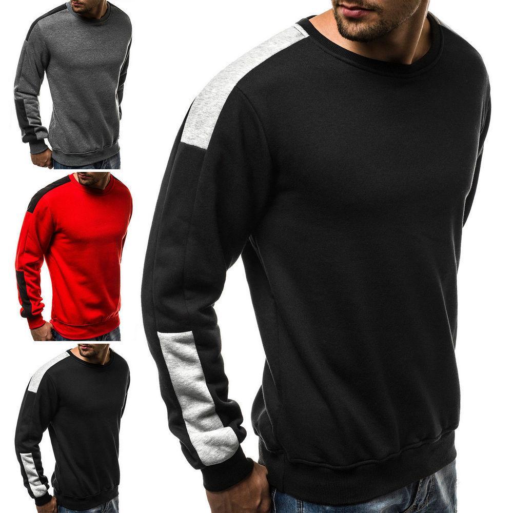 15606ad0b Compre Casual Para Hombre Sudadera Cuello Redondo Tops Manga Larga Moda  Deporte Fleece Pullover A  14.63 Del Wrjmike
