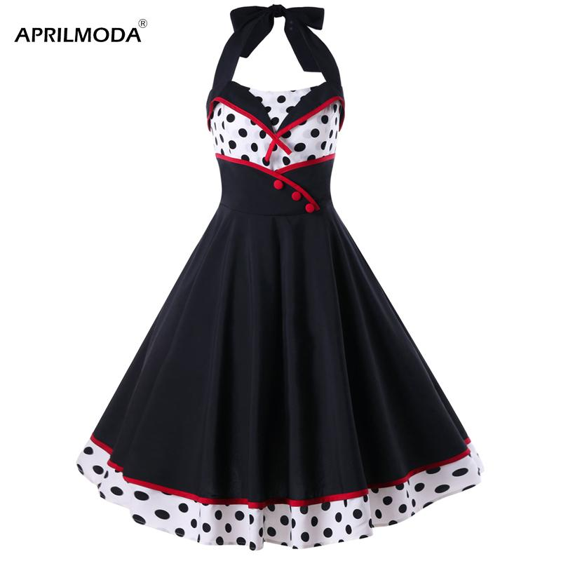 874fc33968747 Acquista Vestito Sexy Da Pin Up 50s Stampato A Pois Nero Bianco Estivo Da  Donna Vintage Abiti Rockabilly Swing Vestidos Anni 60 Party Dress A  49.38  Dal ...