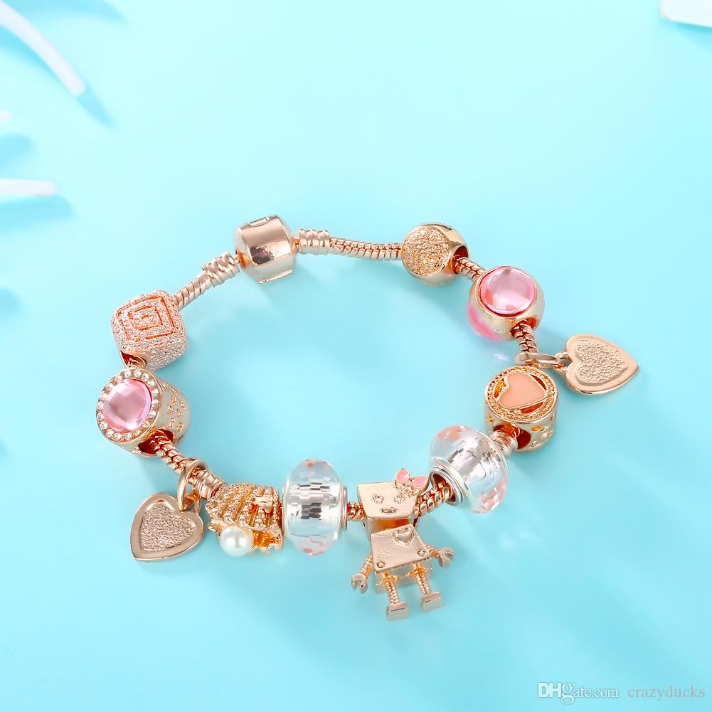 Fashion Rose Gold Charms Bead Chain Bracelet&Bangle With Love Heart Brand And robot Bracelet For Women Jewelry Gift Dropshipping