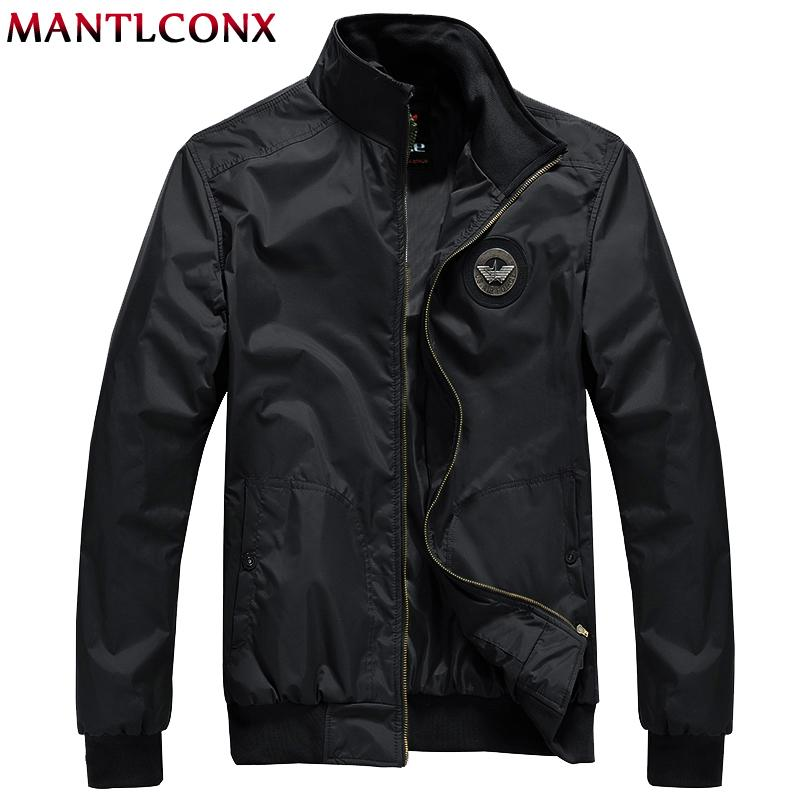 MANTLCONX New Casual Jacket Men Spring Autumn Outerwear Stand Collar Jacket Men Outwear Brand Casual Zipper Windbreak
