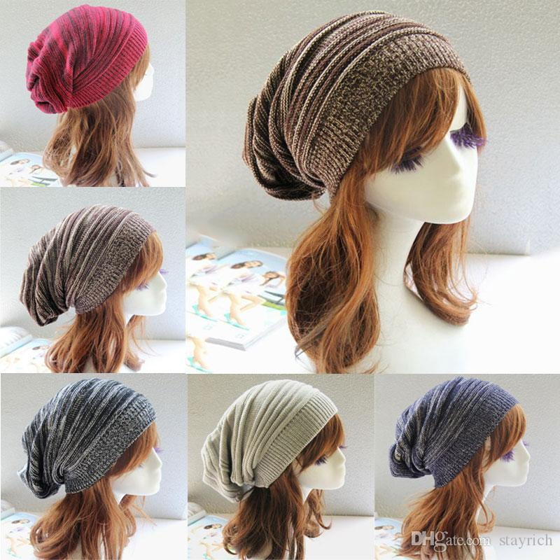 Winter Wrinkle Knitted Crochet Baggy Hat Beanie Cap Winter Warm Street Hip Hop Caps Stripe Beanies Skullies Hats 30pcs