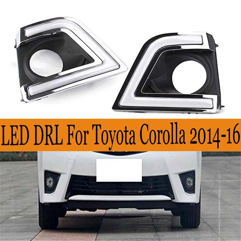 LED DRL for Toyota Corolla Daytime Running Light 2014 2015 2016 with Turn Signal ABS 12V Front Bumper Fog Lamp Accessories light