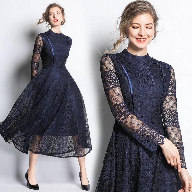 1b163b1edc999 Fashion Lace Womens Dress Long Sleeve Hollow Big Swing Lace Dress Prom  Evening Dresses 2019 Spring Autumn Midi Dresses Short Long Dress Long Short  Dress ...