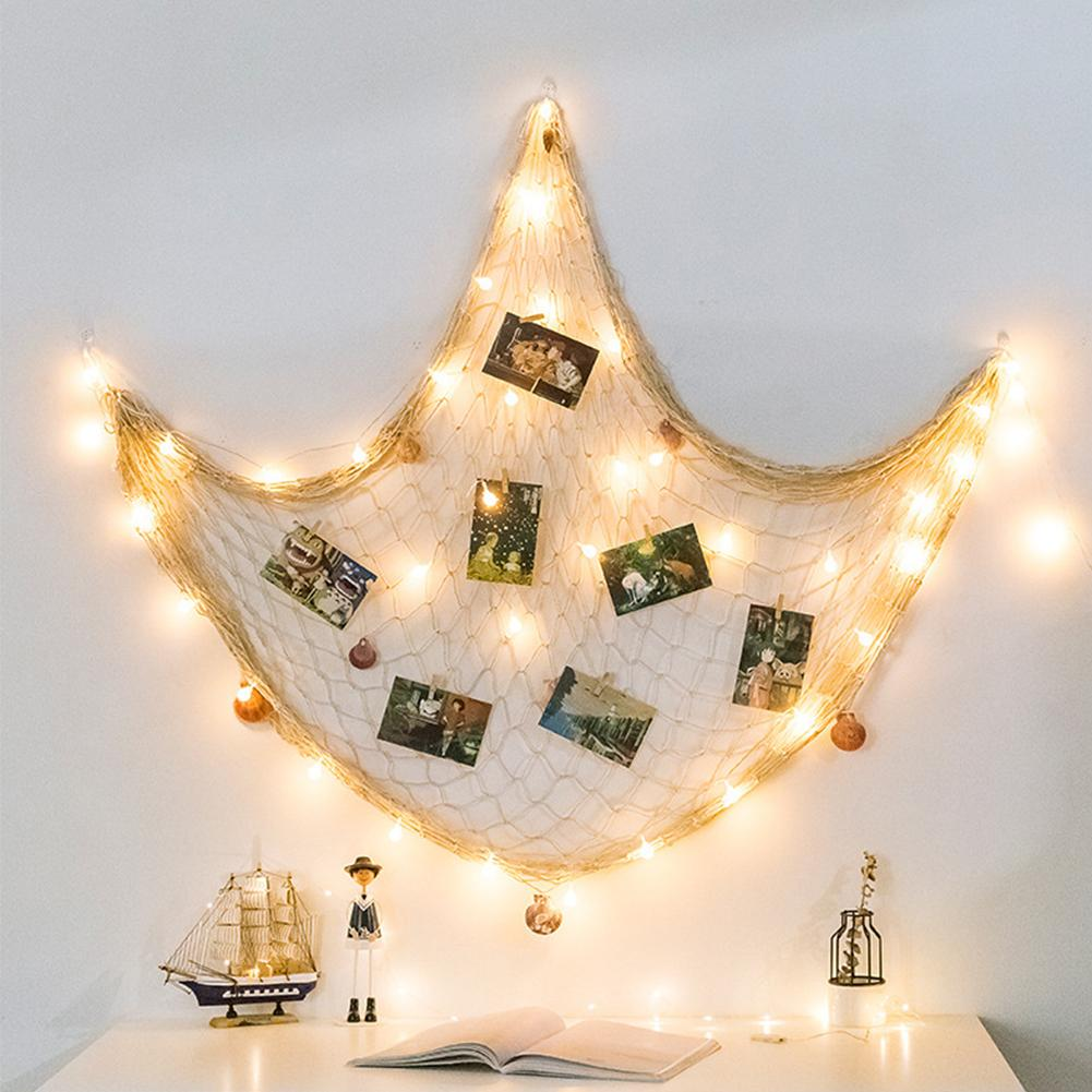 DIY Organizer Collage Display Photo Frames Home Ornament Pictures Fishing Net Wall Cards Artwork Hanging Seashell Bedroom