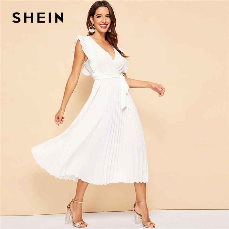 6b664f72d2 SHEIN White Pleated Panel Ruffle Armhole Wrap Belted Sleeveless A Line Party  Dress Women Summer Deep V Neck Elegant Maxi Dresses Flower Dress For Women  Long ...