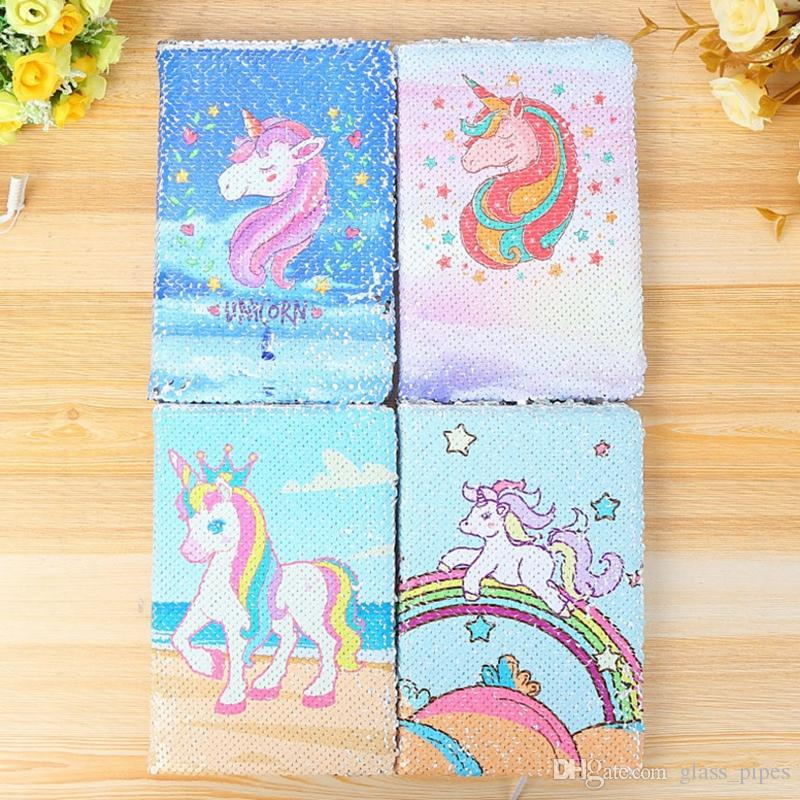 Unicorn Notebook Sequins Mermaid Diary Notebooks A5 Paper Glitter