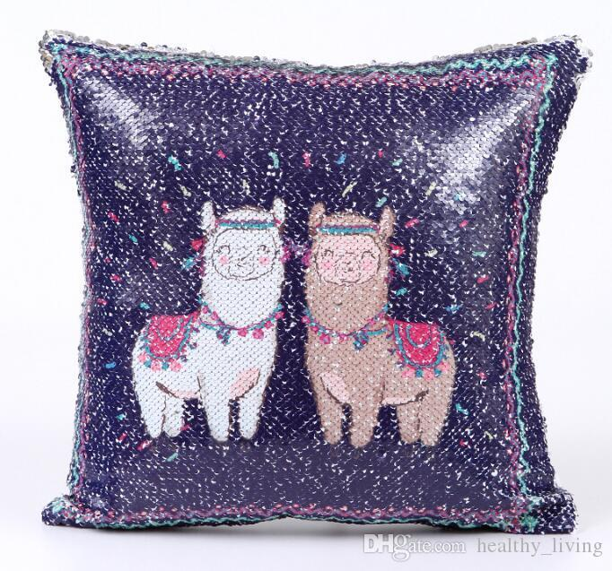 Unicorn Paillette Pillow Cover Alpaca Magical Bedroom Cushion PillowCase Reversible Chair Seat Decorative Wedding Pillow Case 19 Styles Gift