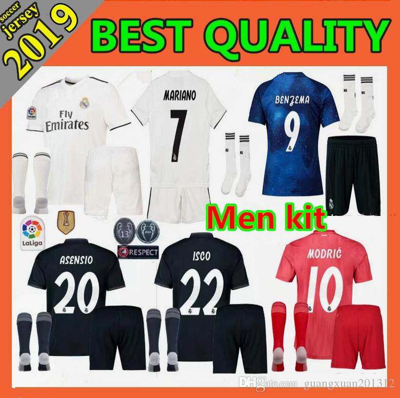 2019 Men Kit +Sock 2018 Real Madrid MARIAN Home Away Soccer Jersey 2018 2019  BENZEMA SERGIO RAMOS MORATA ISCO ASENSIO BALE Football Jersey Shirt From ... f0ec83490