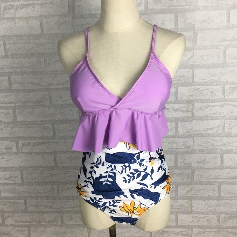 US Donna Solid Bra stampa floreale di stile di vita alta Shorts due pezzi SwimwearSexy Lady Bikini Swimsuit Bathing Beach Giallo Rosso