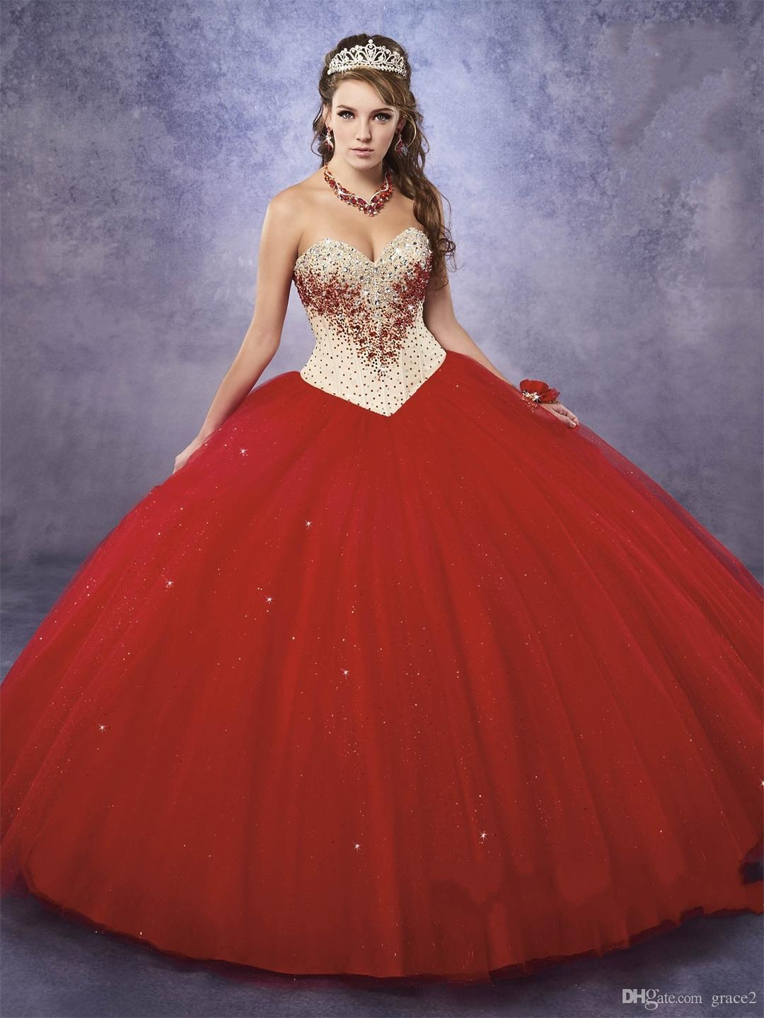 40dff728154 Sweetheart Champagne And Bright Red Quinceanera Dresses With Free Bolero Princess  Dress For Sweet 15 16 Birthday Gowns Marys Quinceanera Dresses Mexican ...
