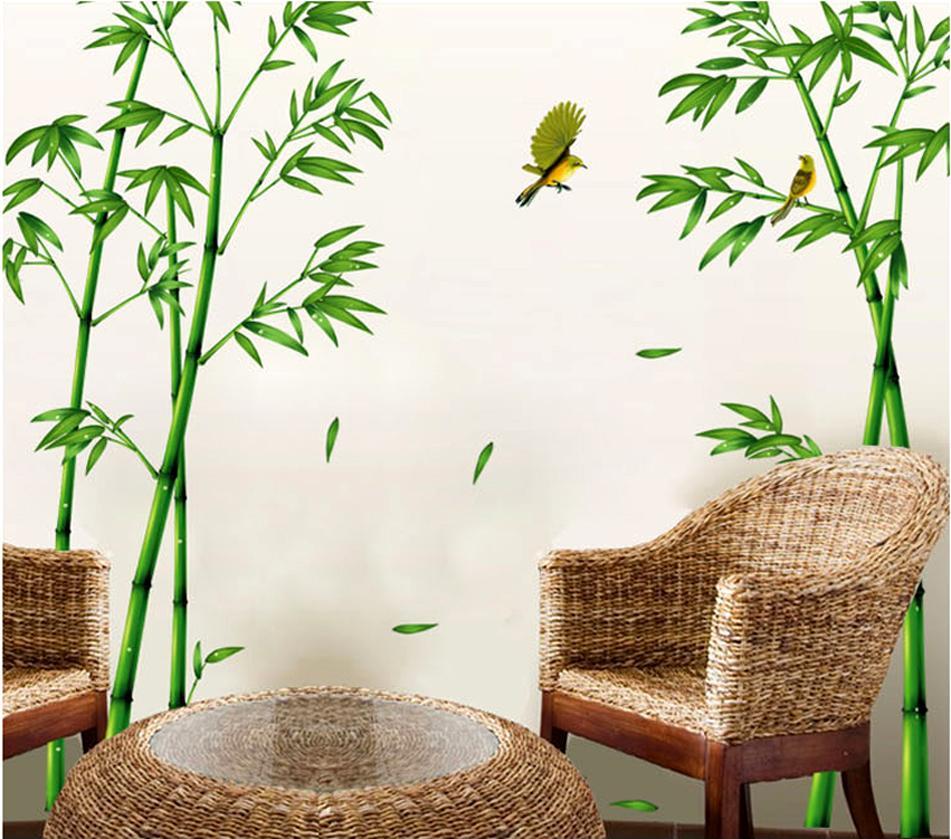 Abnehmbare grüne bambus wald tiefe wandaufkleber kreative chinesischen stil  diy baum wohnkultur abziehbilder für wohnzimmer dekoration d19011702