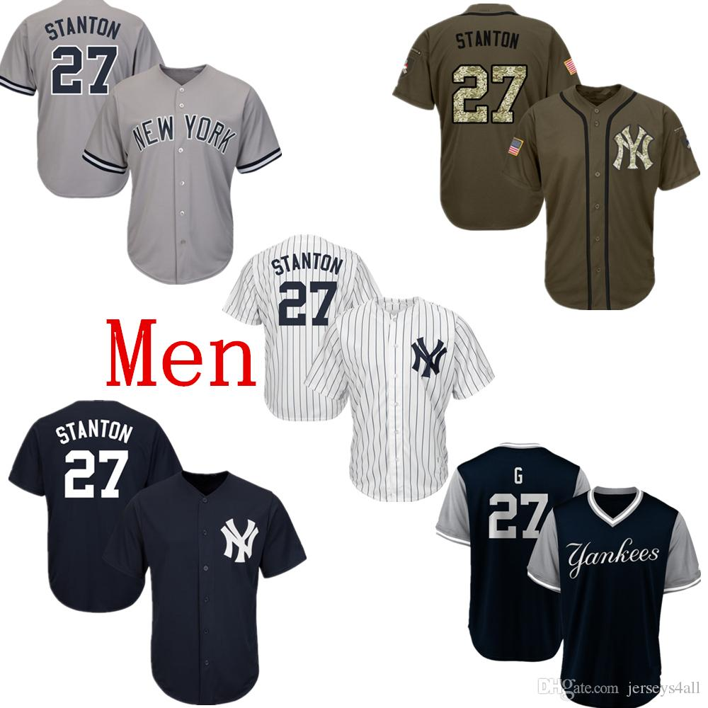 premium selection b65c1 f118a Mens New York Yankees Baseball Jerseys 27 Stanton Jersey Navy Blue White  Gray Grey Green Salute Players Weekend All Star Team Logo