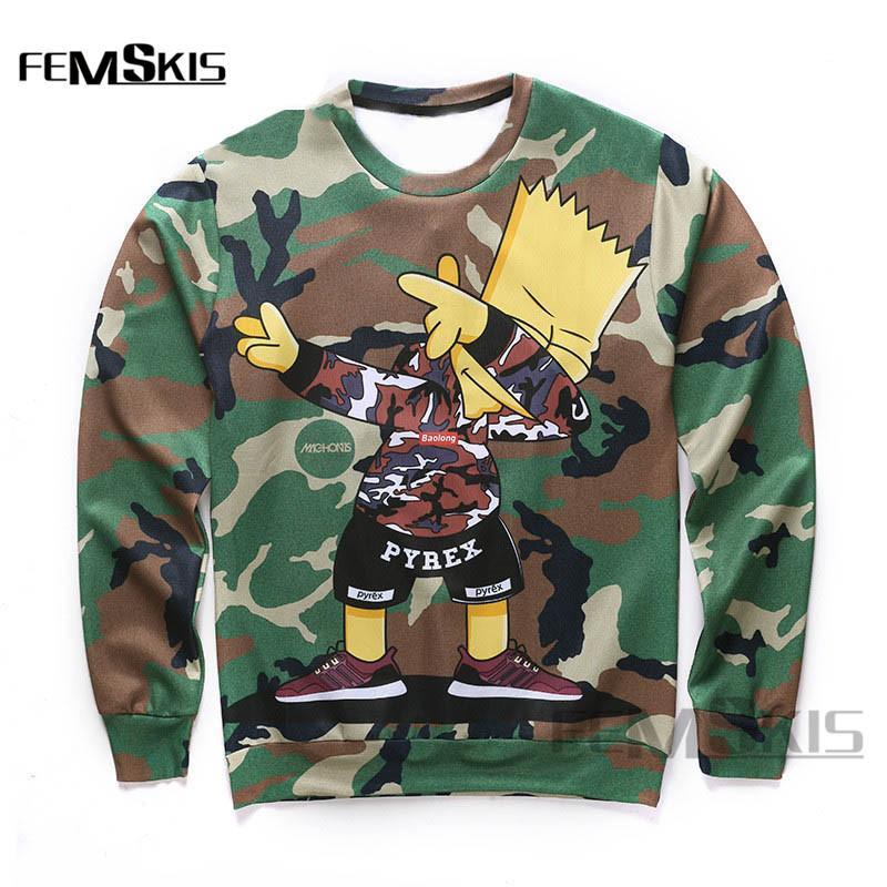 d37e40aa3065e Bart Simpson Sweatshirt Fall New Fashion Men's Pullover Camo Print Fun  Simpsons 3D Sweatshirt Pullover Streetwear S-5XL