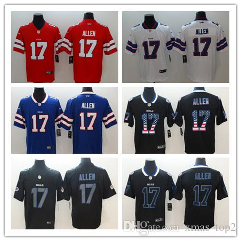 wholesale dealer b50f9 f7203 2019 New Mens 17 Josh Allen Buffalo Jersey Bills Football Jerseys 100%  Stitched Embroidery Bills Josh Allen Color Rush Football Shirt