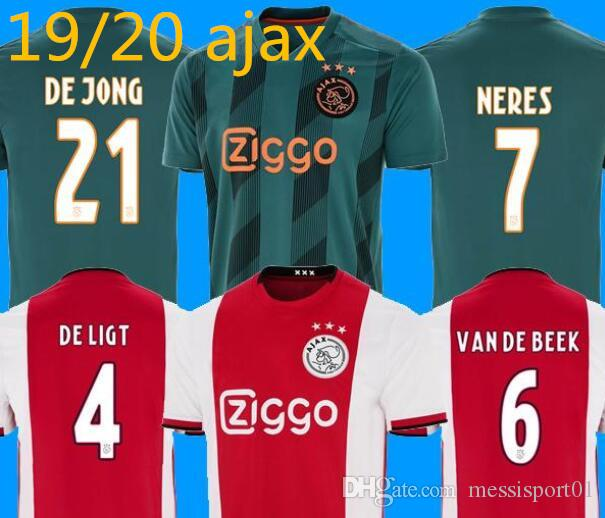 cc9d61434 2019 2019/20 Ajax Soccer Jersey Home Away DE JONG DE LIGT Ajaxa Msterdam  Camiseta Fútbol VAN DE BEEK NERES 2019 2020 TADIC ZIYECH Maillot From  Messisport01, ...