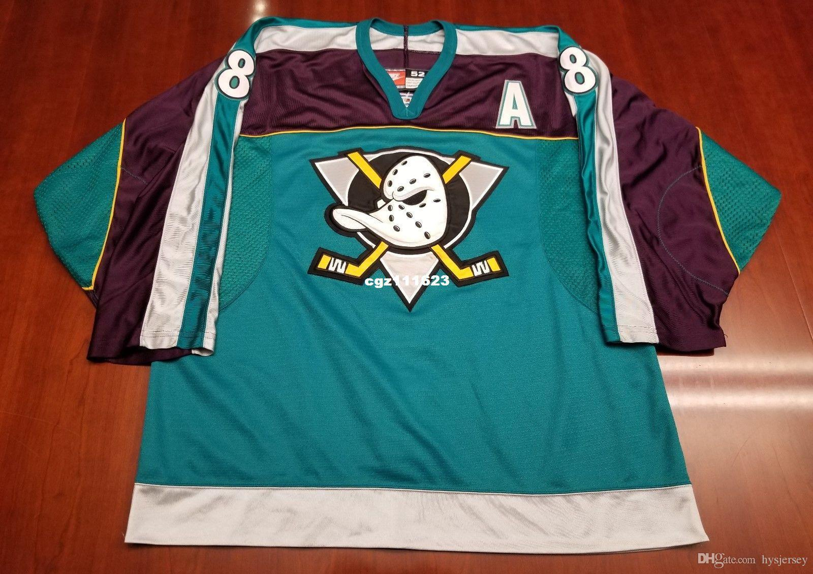 2019 Wholesale Custom Teemu Selanne Vintage Mighty Ducks Cheap Hockey  Jersey Teal Mens Retro Jerseys From Hysjersey 0da10001e6c