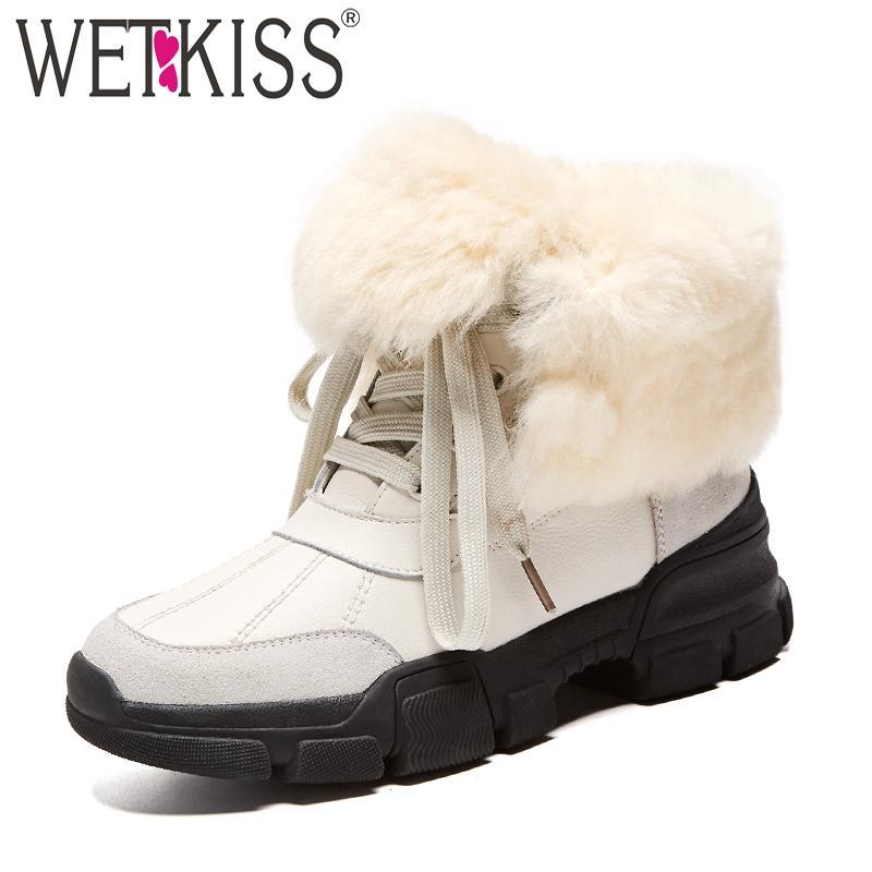 WETKIS Cow Leder Platform Damens Stiefel Round Toe Footwear Footwear Footwear Casual ... 300d8c