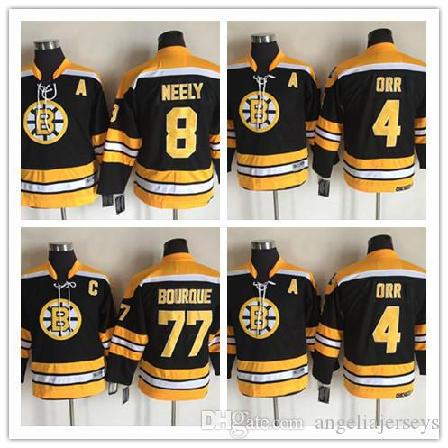 promo code d612b cf587 Youth Boston Bruins 4 Bobby Orr Black CCM Vintage NHL Jersey Cheapest 8 Cam  Neely 77 Ray Bourque Ice Hockey Jersey