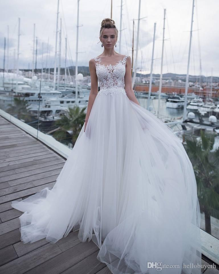 Discount 2019 New A Line White Tulle Beach Wedding Dresses