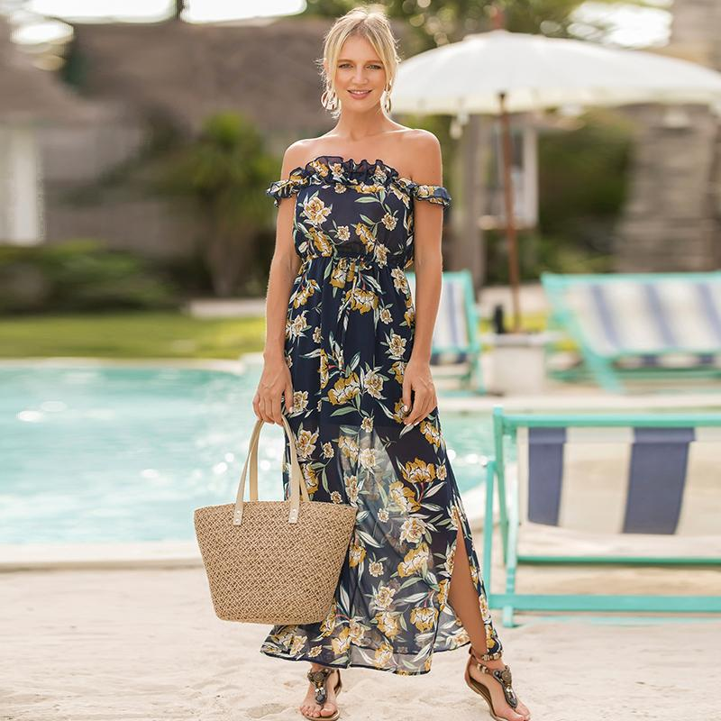 7c9b3169a5 Hot Sale Summer Ruffles Split Boho Women Dress Off Shoulder Floral Print  Long Dresses Casual Holiday Chiffon Beach Maxi Dress Cute Dresses For  Special ...