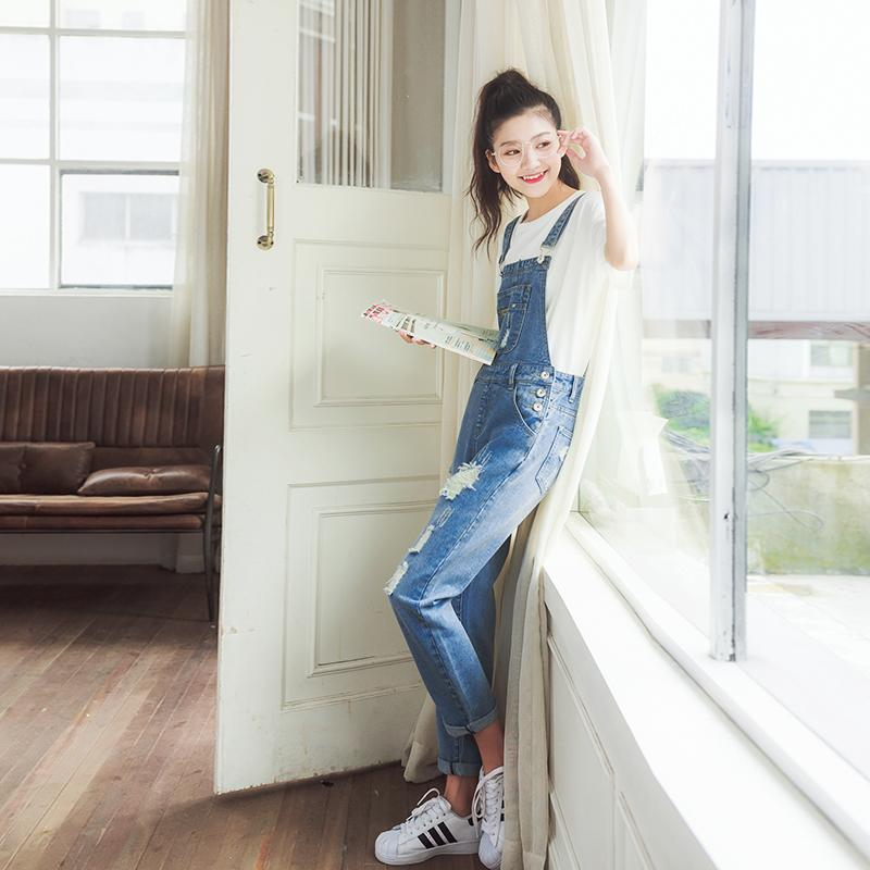 3f5ce6fa7f3 2019 Jeans For Women Overalls Ladies Vintage Loose Solid Hole Denim Female  Suspenders Loose Pants Rompers Womens Jumpsuit J6520 From Junqingy