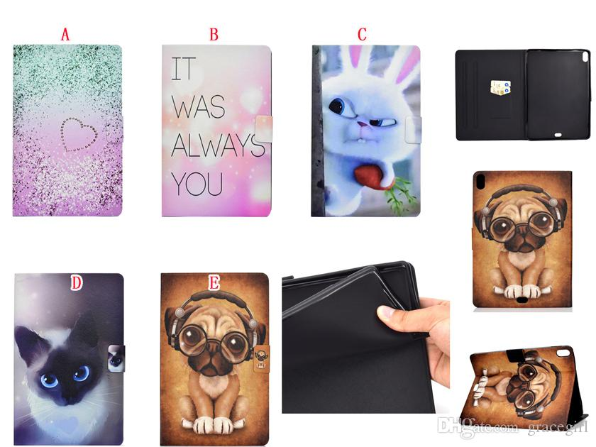 Bling Cartoon Cat Dog Rabbit Wallet Leather Case Stand Pouch For Ipad Pro 11 Inch 2018 tablet Fashion Owl Unicorn Elephant Skin Cover 30pcs