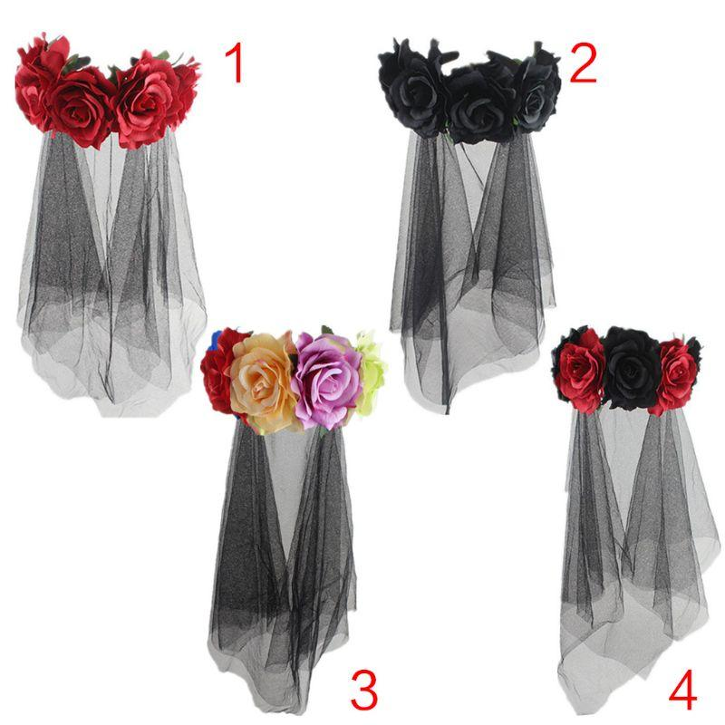 Womens Halloween Costume Bridal Headwear Rose Flowers Crown Tulle Veil Garland Party Wedding Festival Photo Props