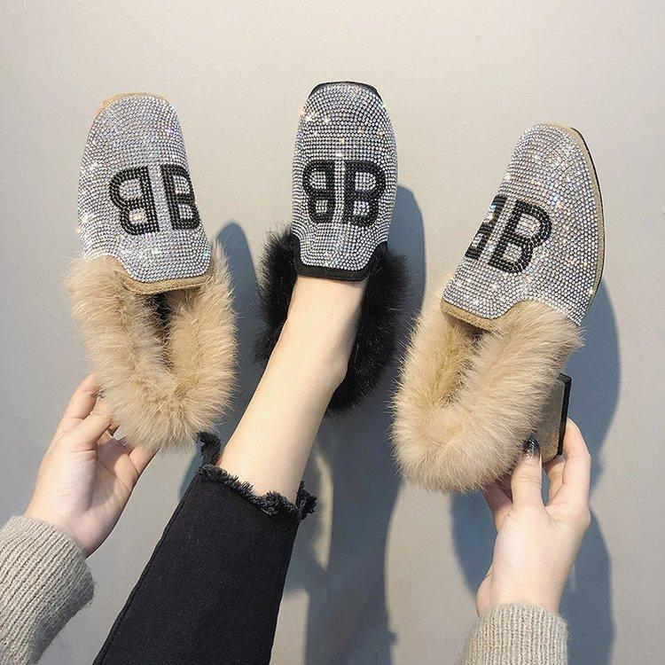 116f278188f Designer Dress Shoes Women Pumps Bling Winter Med Heels Loafers Warm Faux  Fur Rhinestone Mule Block Heels Party Dress Ladies Pumps Shoe Boat Shoes  From Ru55 ...