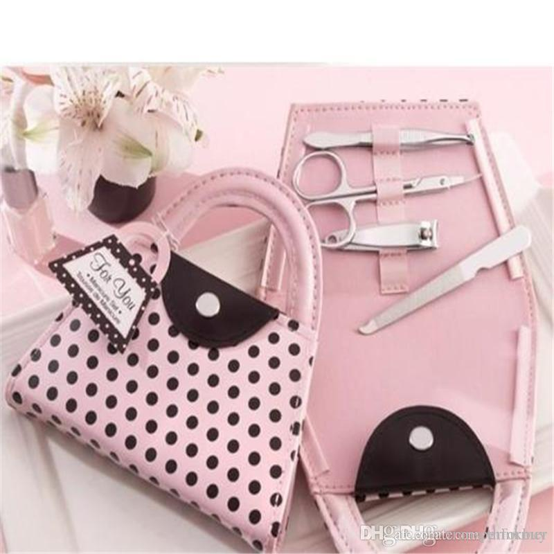 Rosa Polka Dot Purse Manicure Set favor Novidade Do Casamento Nupcial Do Chuveiro Do Dia Dos Namorados Presente Favores Do Partido Presente 0721ayq