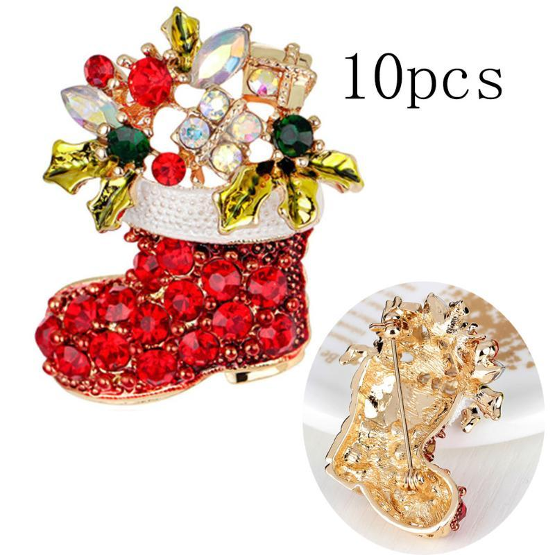 10pcs Rhinestone Boots Brooches Pins For Women Cute Red Color Christmas Shoes Brooch Coat Backpack Broches Fashion Jewelry