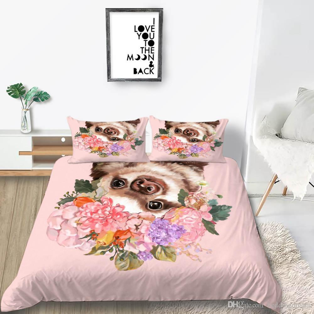 Pet Bedding Set for Girl Fashion Sweet Cute Flowers 3D Duvet Cover Queen Pink Twin Full Single Double Bed Cover with Pillowcase 3pcs