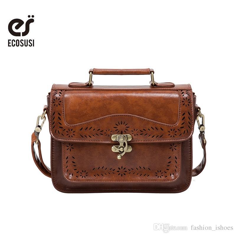 874eb11fca Acheter ECOSUSI Rétro Femmes Messenger Sac Vintage Cartable Sacs Épaule  Porte Documents Pour Femmes Bolsas Femininas Sacoche # 34386 De $64.96 Du  ...