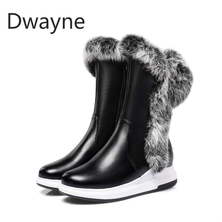 ae065189f9e02 Dwayne Big Size Winter Natural Real Big Rabbit Fur Cow Suede Zip Hair Snow  Boots Women Plus Short Lady Boots Female Fur Boot